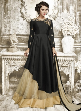 Net Beige and Black Designer Kameez Style Lehenga Choli