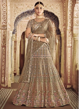 Net Beige and Brown A Line Lehenga Choli