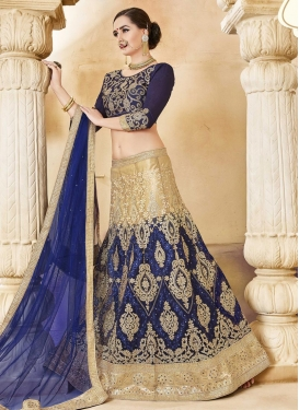 Net Beige and Navy Blue Designer A Line Lehenga Choli