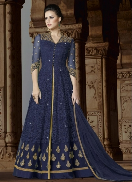 Net Beige and Navy Blue Embroidered Work Kameez Style Lehenga Choli