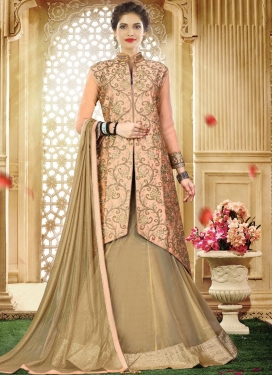 Net Beige and Peach Lace Work Designer Kameez Style Lehenga