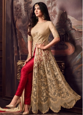 Net Beige and Red Embroidered Work Pant Style Classic Salwar Suit
