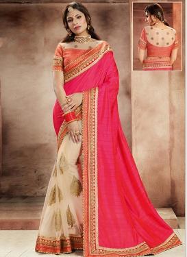 Net Beige and Rose Pink Lace Work Half N Half Saree