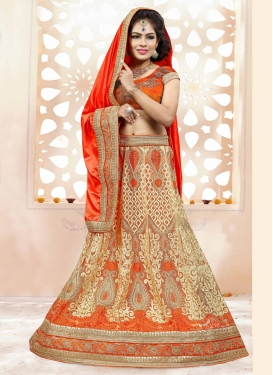 Net Booti Work Beige and Orange Lehenga Style Saree For Bridal