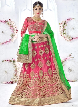 Net Booti Work Hot Pink and Mint Green Trendy Lehenga