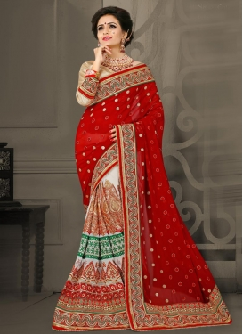 Net Booti Work Off White and Red Designer Half N Half Saree