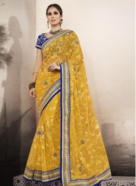 Net Booti Work Traditional Saree For Party
