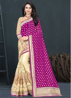 Net Cream and Fuchsia Embroidered Work Half N Half Saree