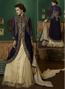 Net Cream and Purple Embroidered Work Designer Long Choli Lehenga
