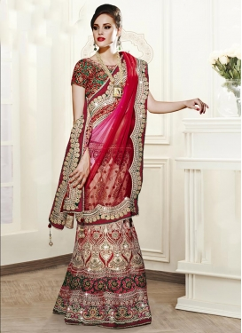 Net Cream and Red Booti Work Trendy Lehenga