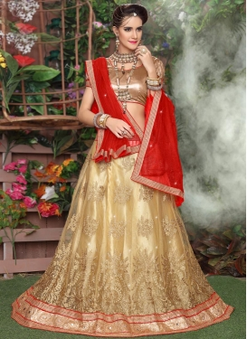 Net Cream and Red Trendy Lehenga Choli