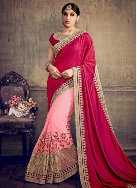 Net Crimson and Pink Beads Work Designer Half N Half Saree