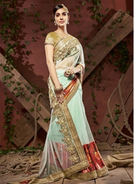 Net Digital Print Work Designer Contemporary Style Saree