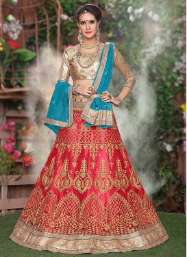 Net Embroidered Work A - Line Lehenga