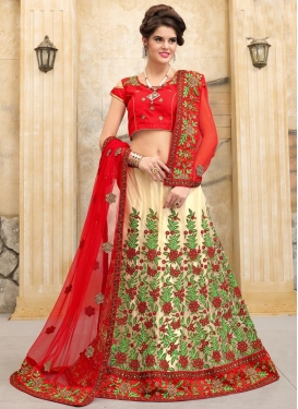 Net Embroidered Work Cream and Red Trendy Lehenga Choli