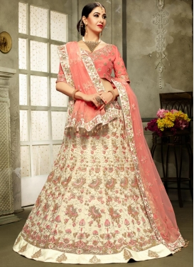 Net Embroidered Work Cream and Salmon Trendy A Line Lehenga Choli
