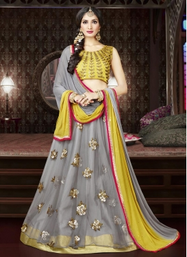 Net Embroidered Work Designer A Line Lehenga Choli