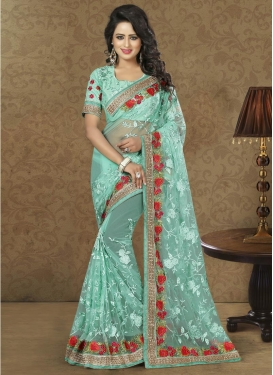 Net Embroidered Work Designer Contemporary Style Saree