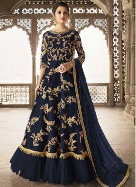 Net Embroidered Work Floor Length Designer Salwar Suit