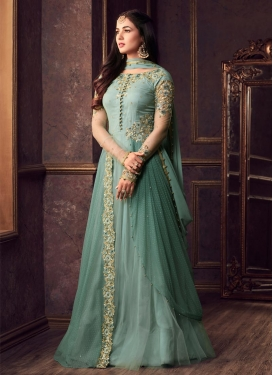 Net Embroidered Work Floor Length Designer Suit