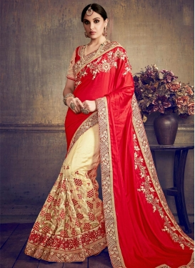 Net Embroidered Work Half N Half Saree