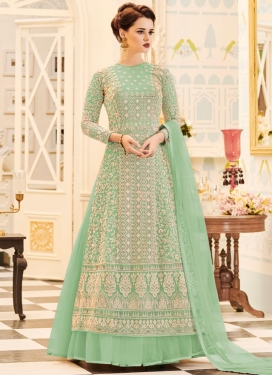Net Embroidered Work Jacket Style Long Length Suit