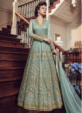 Net Embroidered Work Kameez Style Lehenga