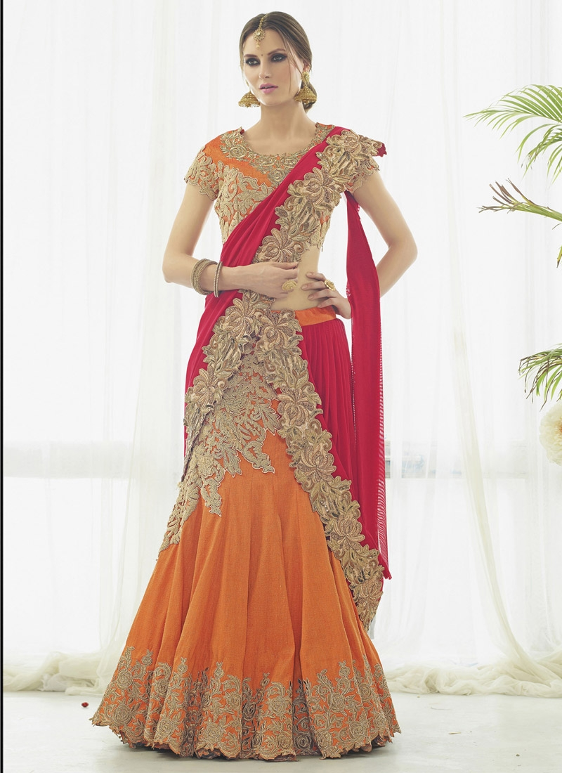 Net Embroidered Work Lehenga Saree