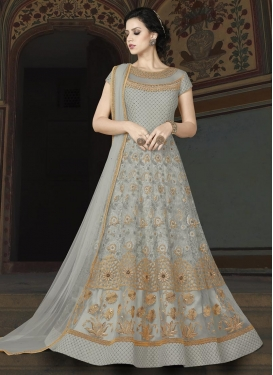 Net Embroidered Work Long Length Designer Anarkali Suit