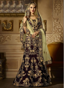 Net Embroidered Work Mint Green and Wine Trendy Lehenga