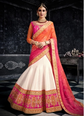 Net Embroidered Work Off White and Rose Pink A Line Lehenga Choli