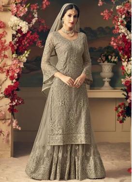Net Embroidered Work Sharara Salwar Suit