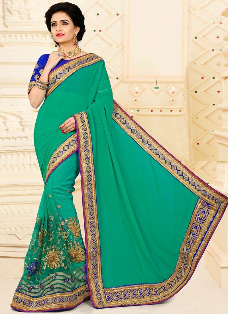 Net Embroidered Work Traditional Saree