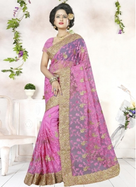 Net Embroidered Work Traditional Saree For Festival