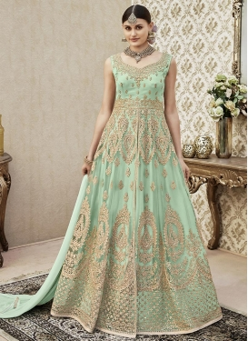 Net Embroidered Work Trendy Anarkali Salwar Kameez