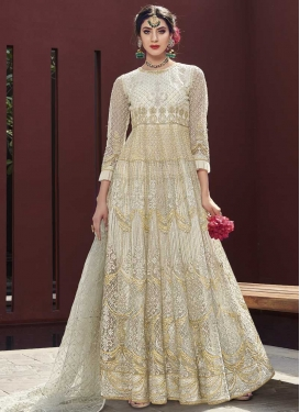 Net Embroidered Work Trendy Anarkali Suit