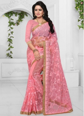 Net Embroidered Work Trendy Saree