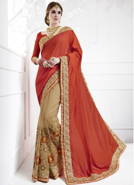 Net Floral Work Beige and Tomato Half N Half Saree