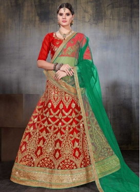 Net Green and Red Trendy Lehenga Choli