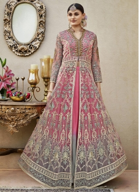 Net Grey and Hot Pink Designer Kameez Style Lehenga Choli