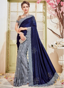 Net Grey and Navy Blue Designer Half N Half Saree