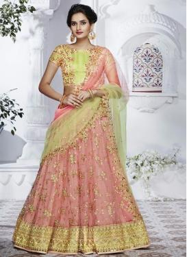 Net Lace Work Designer A Line Lehenga Choli