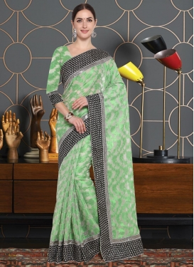Net Lace Work Mint Green and Off White Contemporary Style Saree