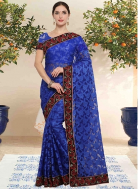 Net Lace Work Traditional Saree