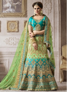 Net Light Blue and Mint Green Embroidered Work A Line Lehenga Choli