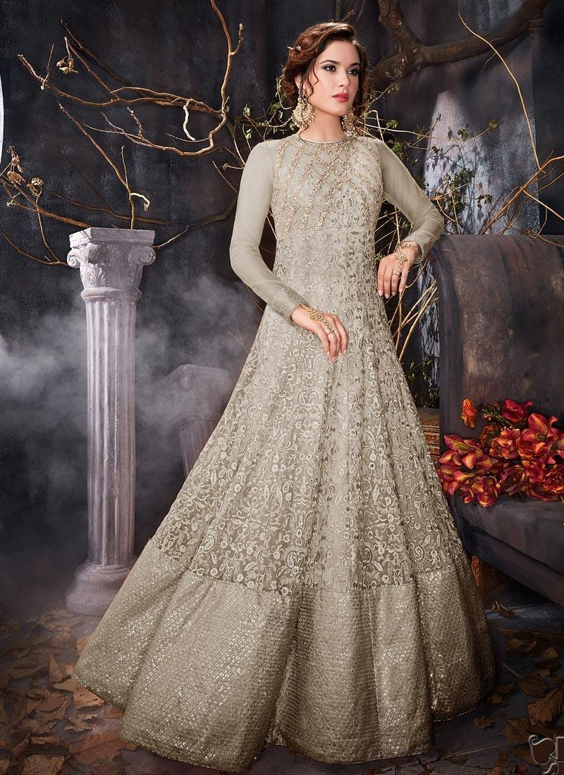 b86615930d Buy Net Long Length Designer Anarkali Suit Online In UK