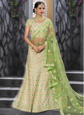 Net Mint Green and Off White Trendy Lehenga Choli