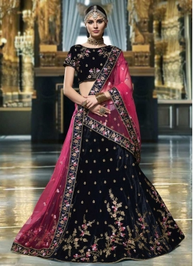 Net Navy Blue and Rose Pink A - Line Lehenga