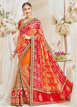 Net Orange and Red Half N Half Trendy Saree