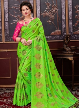 Net Print Work Mint Green and Rose Pink Traditional Saree